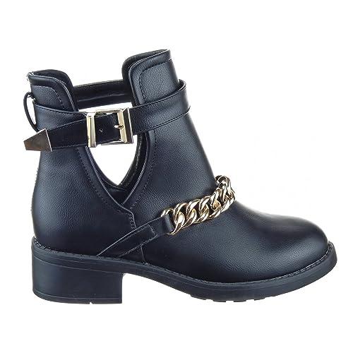 Sopily - Zapatillas de Moda Botines Low Boots Low boots A medio muslo mujer Cadena Talón