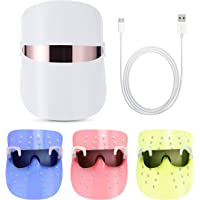 Red Light Therapy LED Face Mask 3 Color Clear Mask   LED Mask Therapy Facial Photon For Healthy Skin Rejuvenation   Collagen, Anti Aging, Wrinkles, Scarring   Korean Skin Care (White)