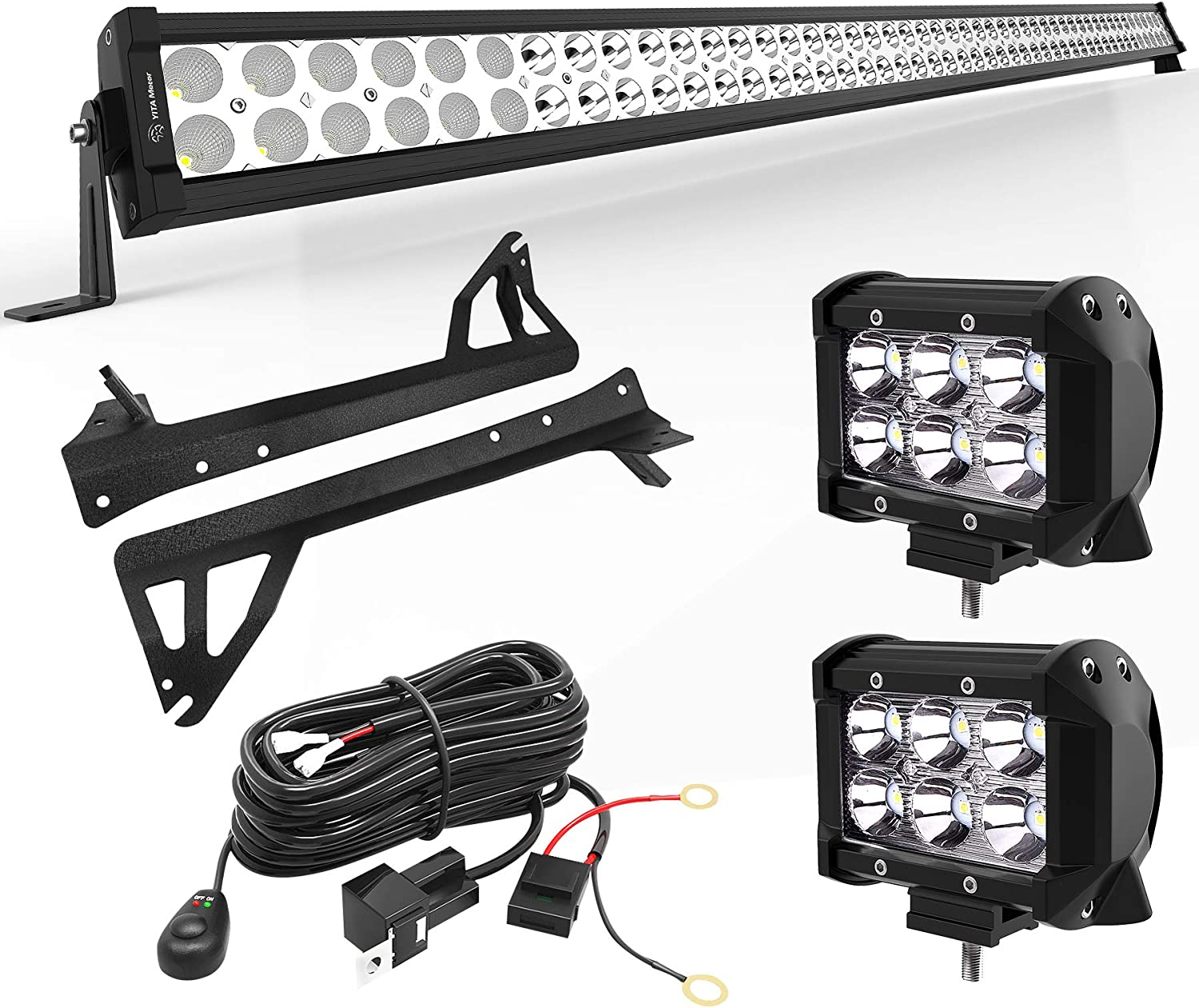 Amazon.com: YITAMOTOR LED Light Bar 50 inches Combo Light Bar & 2pc inches  18W Spot Light Pods & Wiring Harness & Roof Mounting Brackets Compatible  for 2007-2018 Jeep Wrangler JK: AutomotiveAmazon.com