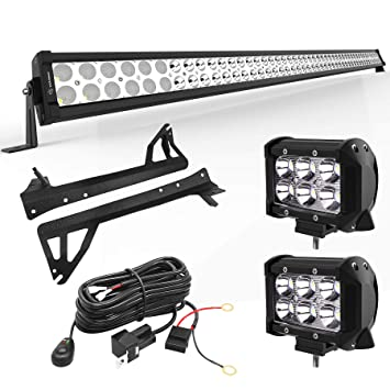YITAMOTOR LED Light Bar 50 inches Combo Light Bar & 2pc inches 18W on