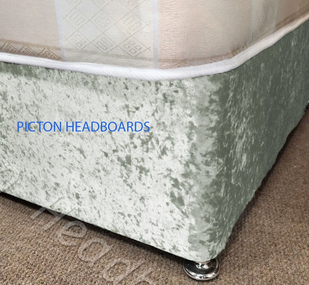 Crushed Velvet Elasticated Bed Valance/Divan Base Cover 12 Colours, All Sizes (Small Double, Silver) Miss Valance