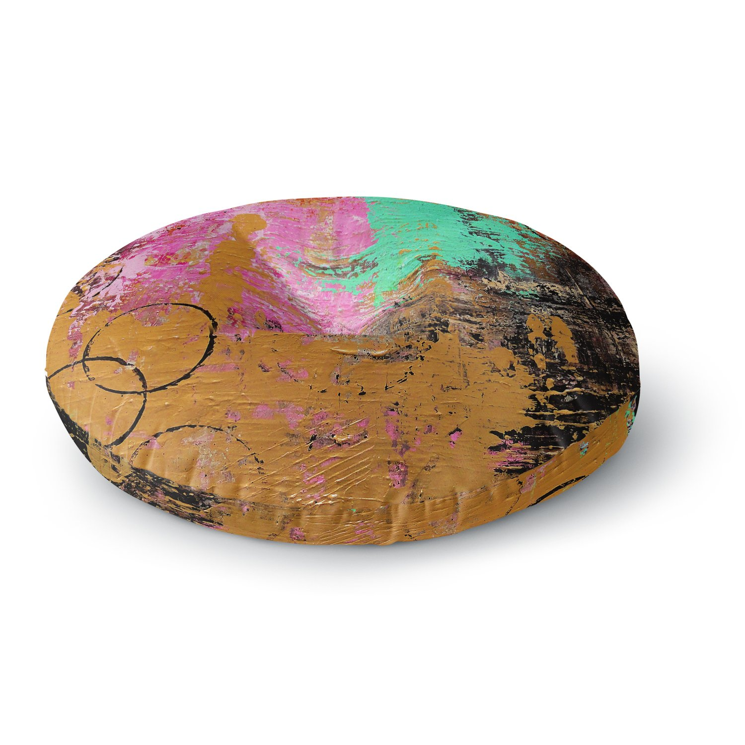 26 Round Floor Pillow Kess InHouse Geordanna Fields Kala II Gold Pink Abstract