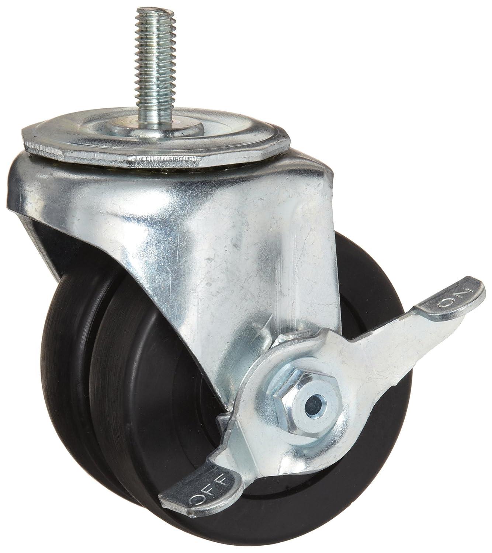 Hard Rubber Wheel Swivel with Pinch Brake Delrin Bearing 350 lbs Capacity 3-7//8 Mount Height 3 Wheel Dia E.R 1 Stem Height Wagner Stem Caster 13//16 Wheel Width 3//8-16 Stem Dia Dual Wheel