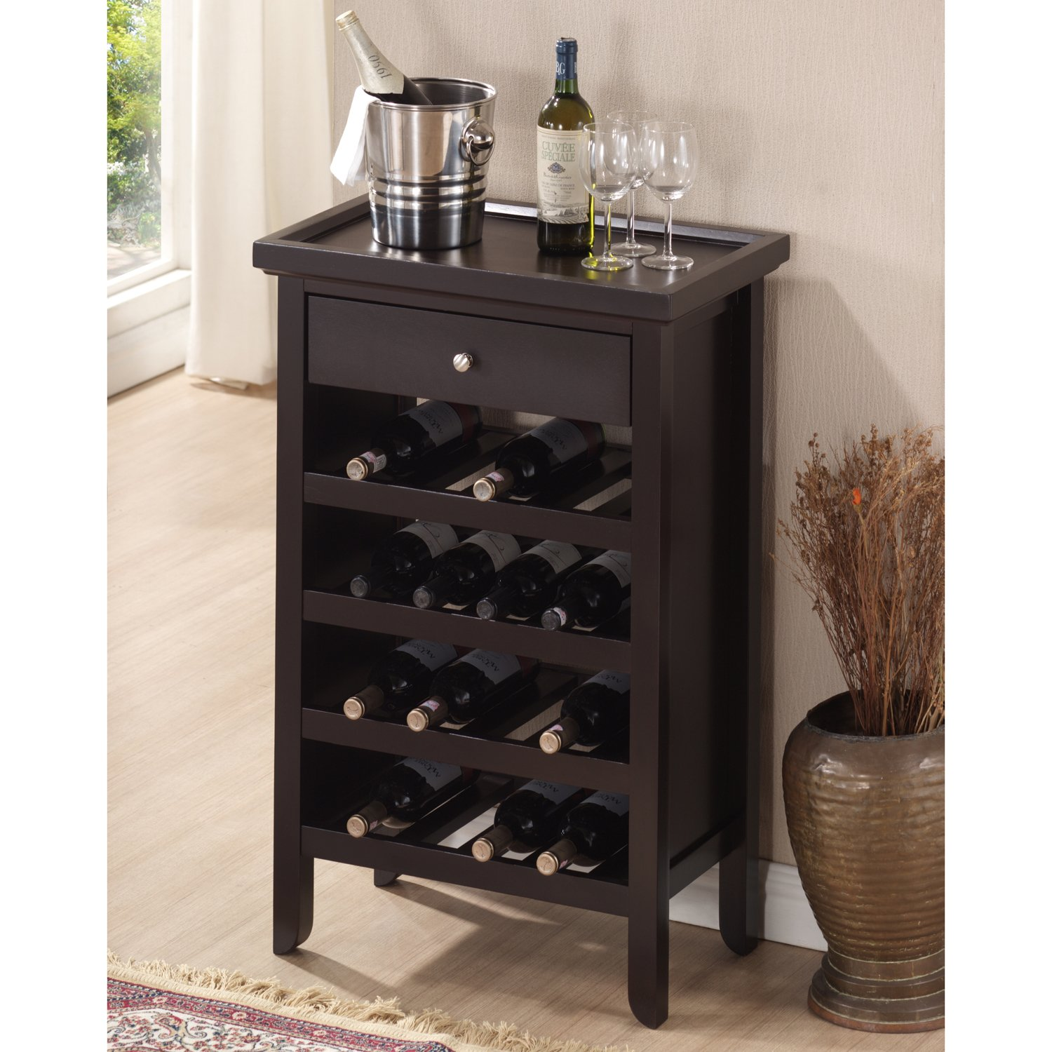amazoncom baxton studio atlanta dark brown wood modern wine  - amazoncom baxton studio atlanta dark brown wood modern wine cabinetkitchen  dining