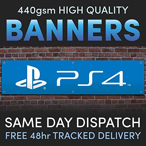 Playstation PS4 Full Colour Vinyl Banner Kids Man Cave Games Room