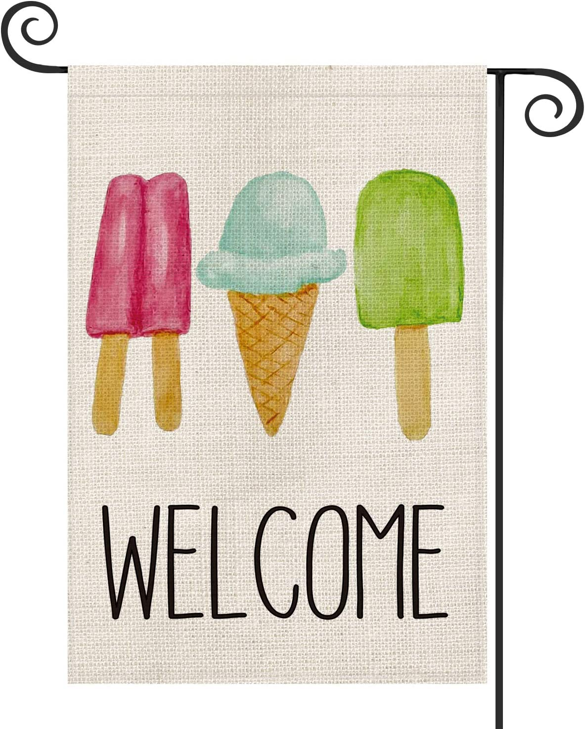 AVOIN Summer Ice Cream Popsicle Cone Garden Flag Vertical Double Sided, Welcome Flag Yard Outdoor Decoration 12.5 x 18 Inch
