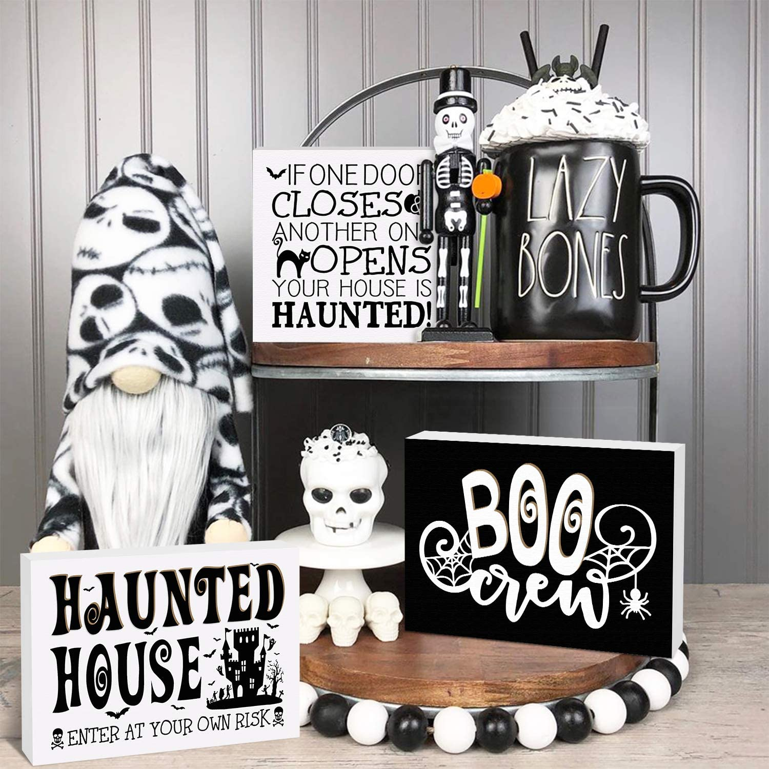 Huray Rayho Halloween Haunted House Tiered Tray Decorations Rustic Wooden Boo Crew Signs Vintage Black and White Collections Farmhouse Autumn Fall Supplies Set of 3