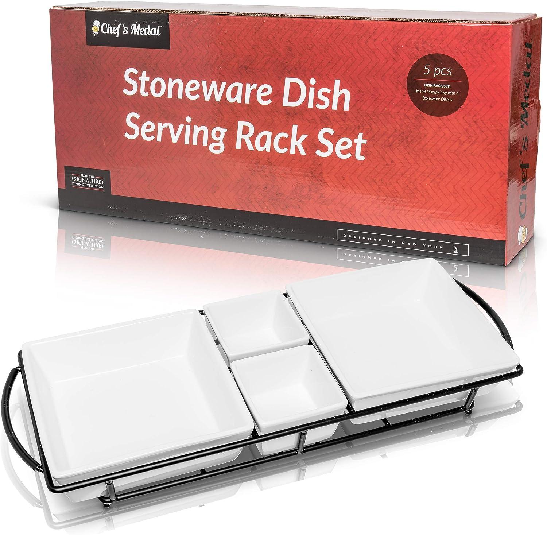 Juego de platos para servir comida: 4 cuencos de cerámica blanca ...