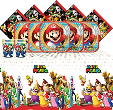 Amscan Pack De Vaisselle De Fete Pour Joyeux Anniversaire Super Mario Bros Brothers Pour Amazon Fr Jeux Et Jouets