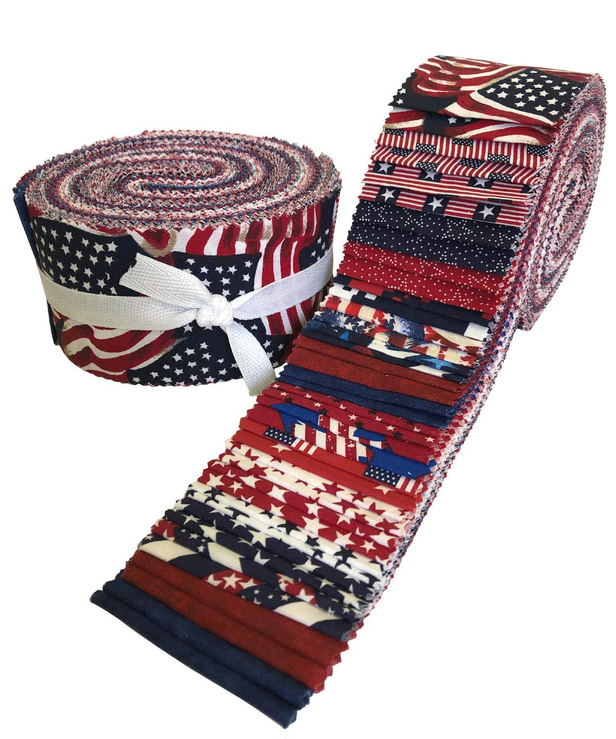 Made in USA Jelly Roll Collection 40 Precut 2.5-inch Quilting Fabric Strips by Santee
