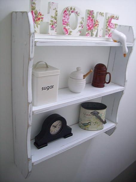 large 70cm white pine shabby chic shelves kitchen shelves shelf rh amazon co uk shabby chic kitchen shelves uk shabby chic kitchen shelf ideas