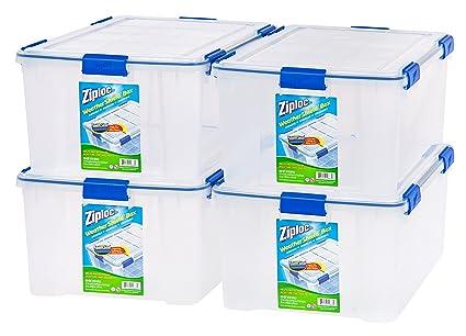 Attrayant Ziploc WeatherShield 60 Quart Storage Box, 4 Pack, Clear