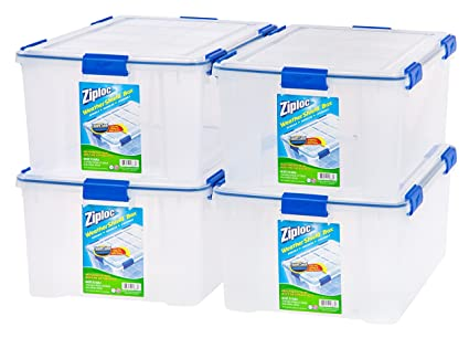 Delightful IRIS USA, Inc. Ziploc WeatherShield 60 Quart Storage Box, 4 Pack, Clear