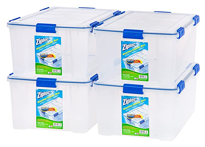 Ziploc WeatherShield 60 Quart Storage Box, 4 Pack, Clear: Amazon.ca: Home U0026  Kitchen