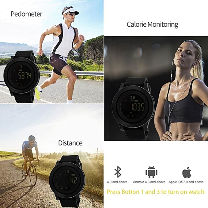 Amazon.com: Mastop Smart Watch Pedometer Calories Bluetooth Clocks Waterproof Digital Outdoor Chronograph Sports Watches (Green): Cell Phones & Accessories