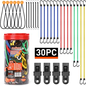 "HORUSDY 30-Piece Premium Bungee Cords Assortment Jar, Includes 10"", 18"", 24"", 32"", 40"" Bungee Cords, 8""Canopy/Tarp Ball Ties and Crocodile Mouth Tarp Clips"