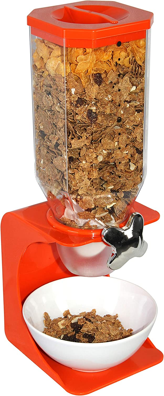 colazione singolo arancione chicchi di caff/è bianco singolo Distributore di cereali in plastica bianca trasparente per alimenti per animali domestici