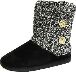 e744b06f7f95 Redvolution Women s Knit Black   Grey Faux Fur Shearling Lined Wide Calf  Flat Heel Ankle Boot