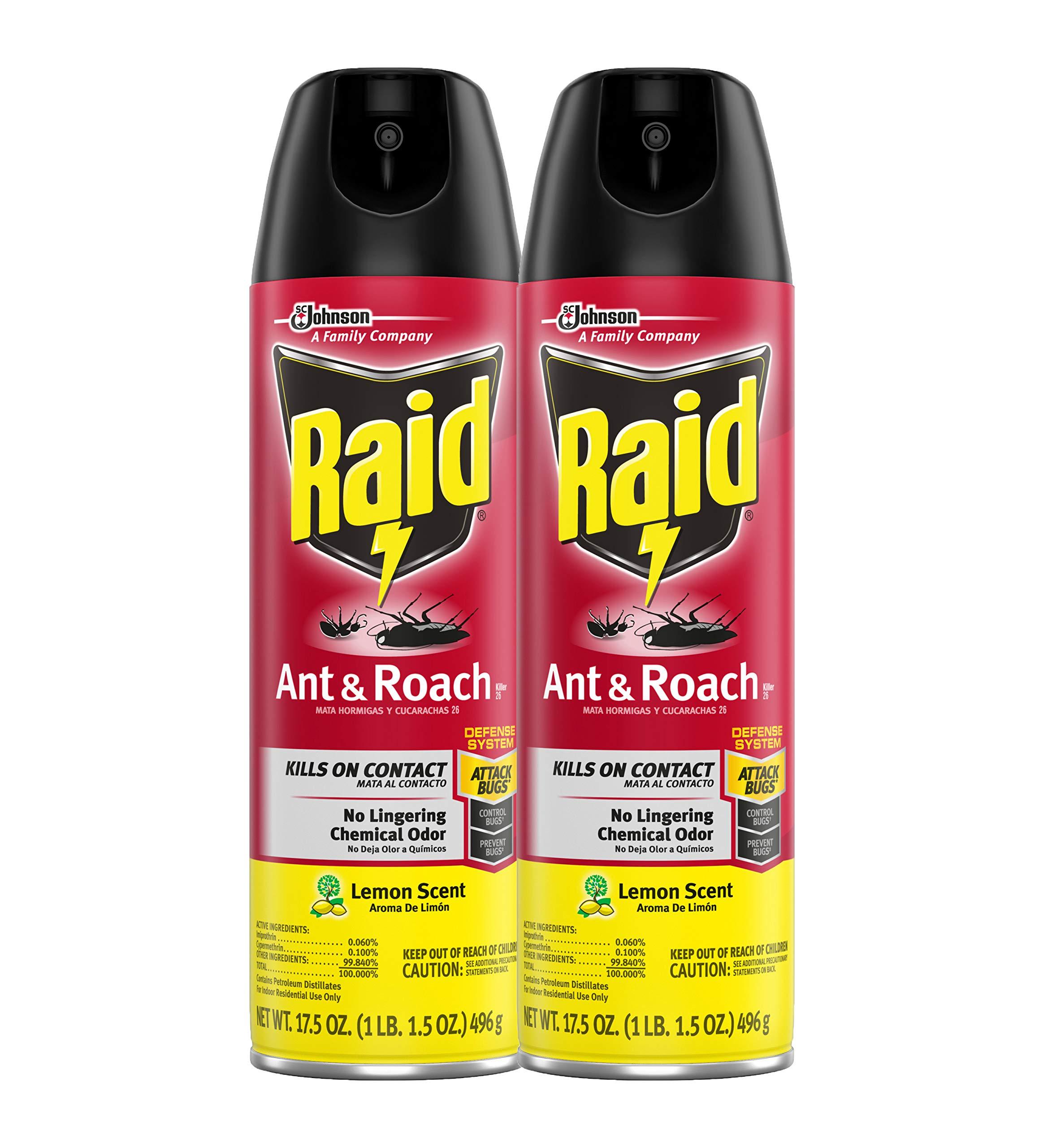 Raid Ant & Roach Killer Lemon Scent, 17.5 OZ (Pack - 2) by Raid