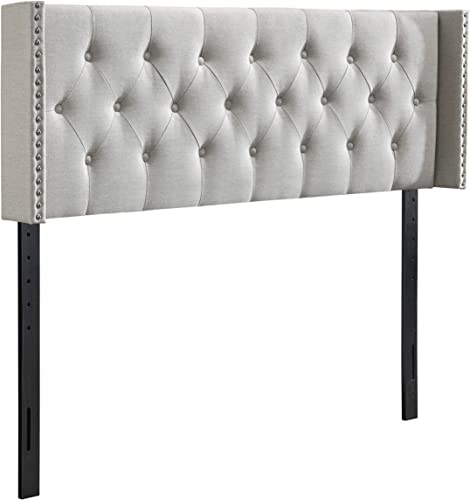 DG Casa Savoy Diamond Tufted Upholstered Nailhead Trim Wingback Adjustable Height Headboard