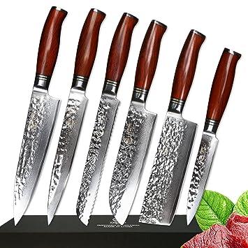 Yarenh 6 Pieces Ensembles De Couteaux De Cuisine Professionnel