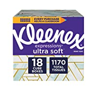 Kleenex Expressions Ultra Soft Facial Tissues, 18 Cube Boxes, 65 Tissues per Box...