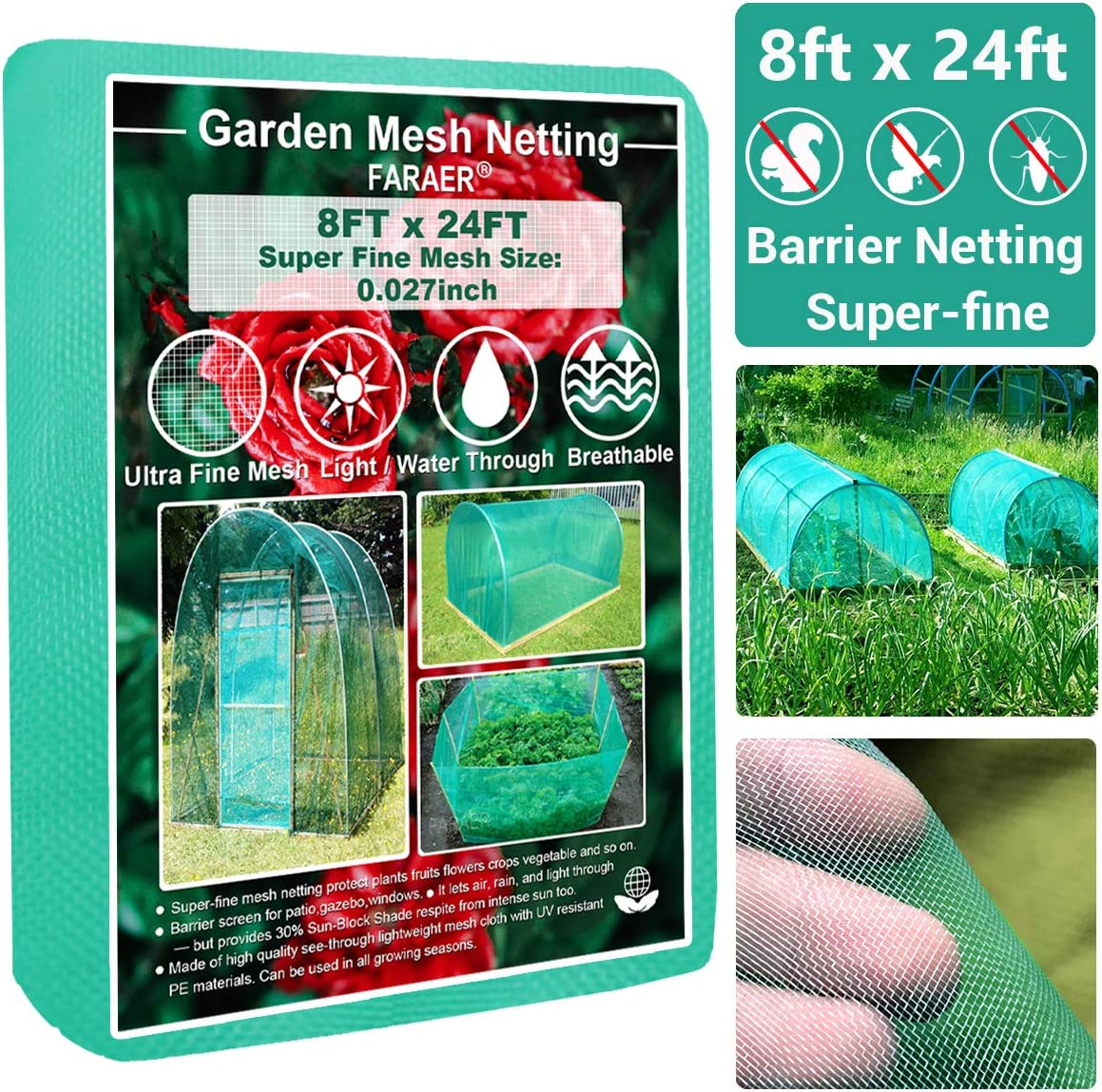 Garden Barrier Netting, Plant Covers 8x24ft Extra Fine Mesh 30% Sun Net Green Sunblock Mesh Shade Protection Netting for Vegetable Fruits Flowers Crops Row Cover Raised Bed Screen Against Birds Animal