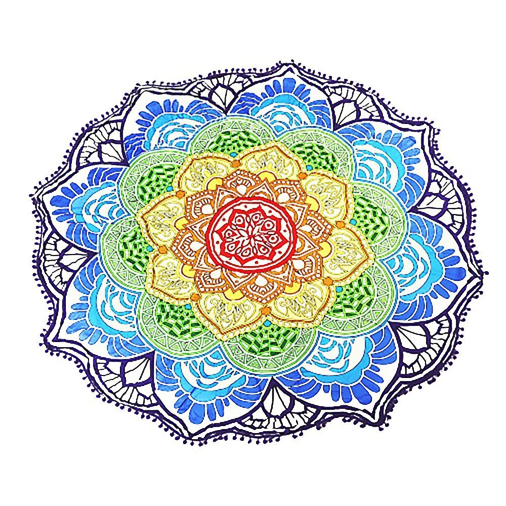 ATAILORBIRD Beach Throw, Light Travel Throw Bohemian Pompon Tapestry Round Mandala with Multi Color Sunscreen Shawl Picnic Wall Decoration Flower Pattern ...