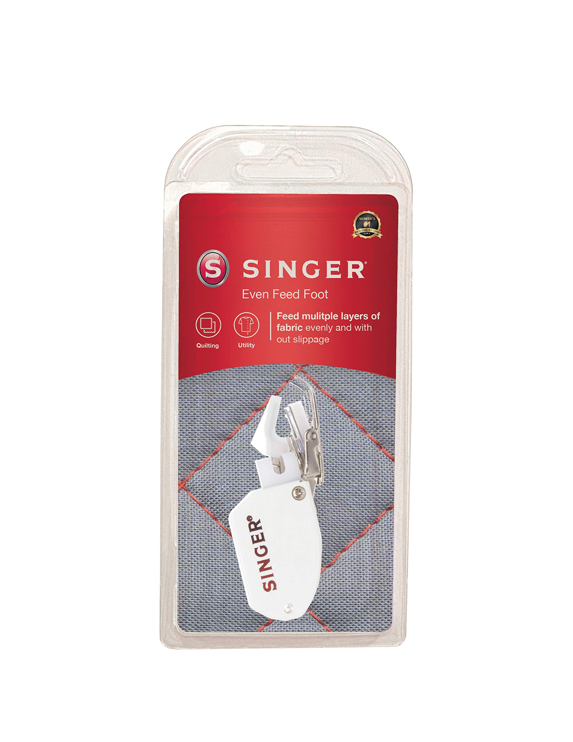 SINGER   Even Feed / Walking Presser Foot - Fork, Perfect for Matching Stripes & Plaids, Quilting & Sewing with Pile Fabrics - Sewing Made Easy