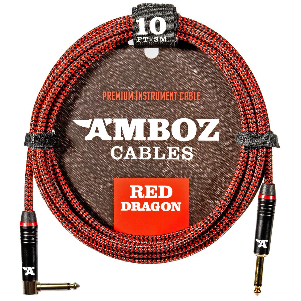 Red Dragon Guitar Cable - Sturdy & Ultra Flexible Instrument Cable For Electric & Bass Guitar Players - Super Noiseless, Used By Amateurs & Pros Alike - 10 FT/straight-rect./Get Ready To Rock!