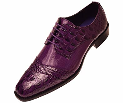 Bolano Mens Red Exotic Faux Large Croco Print Embossed Oxford Dress Shoe Sz 8