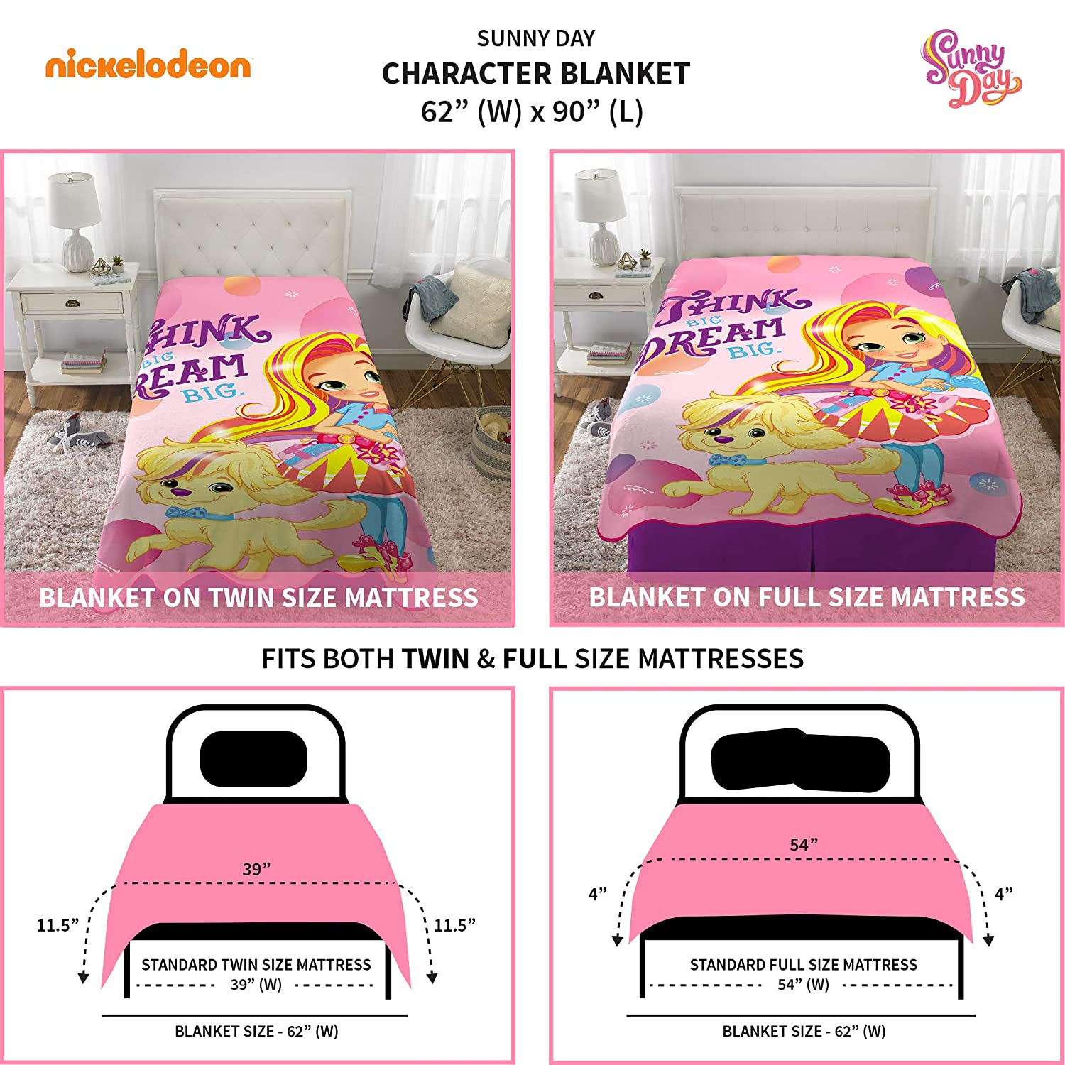 Nickelodeon Sunny Day Soft Plush Microfiber Kids Bedding Blanket Twin//Full Size 62 x 90 Pink Franco Manufacturing A46358