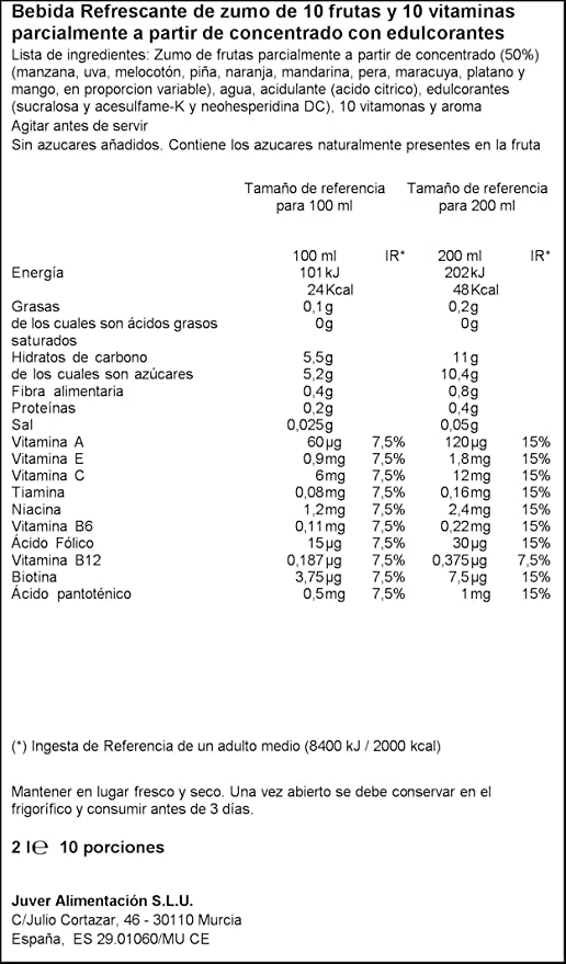 Juver - Bebida Refrescante Sin Azúcar 10 Frutas + 10 Vitaminas 2L - Pack de 6 (Total 12L): Amazon.es: Alimentación y bebidas