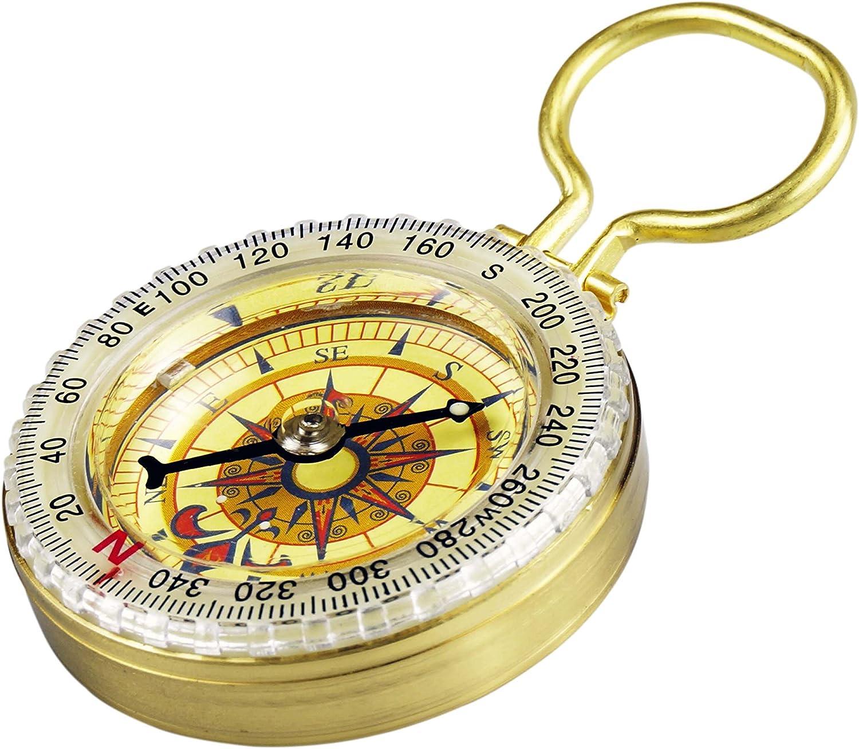 SE CC50B Glow-in-the-Dark Brass Compass Sona Enterprises