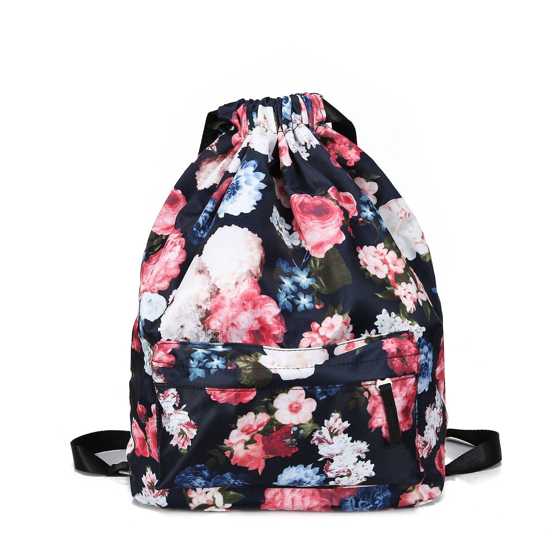 MORHUA Backpack Drawstring Bag Gymbag Drawstring Backpack Sports Travel Yoga Gymsack (Dark Orchid Pocket) by MORHUA (Image #7)