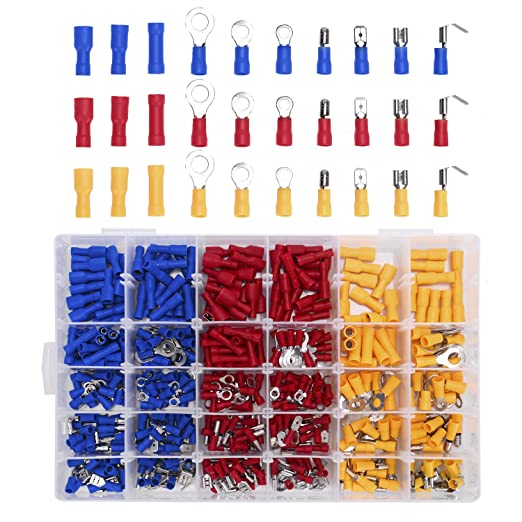 20PCS Red Insulated Fork Spade Wire Connector Electrical Crimp Terminal M4 PICA
