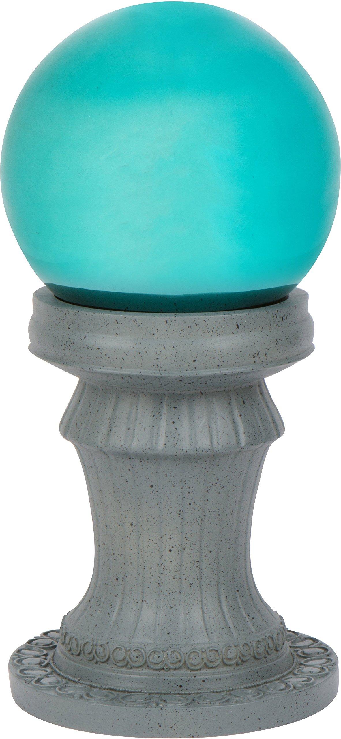 11.5'' Pedestal Gazing Ball Stand (Resin) & 10'' Gazing Ball (Blue) by Trademark Innovations