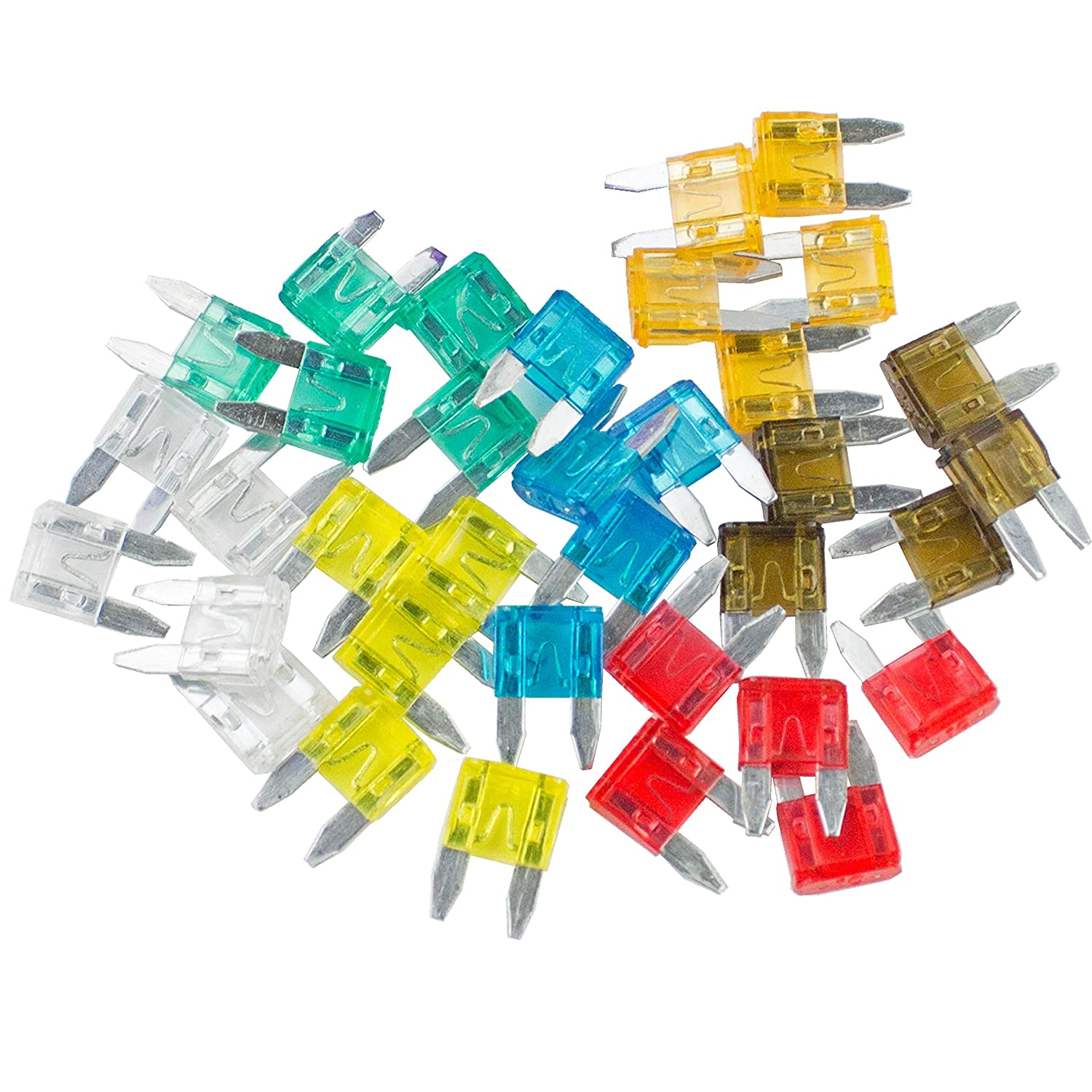 1 Combo Kit 5-30 AMP Mini APM//ATM 32V Mini Blade Style Fuses Short Circuit Protection Car Fuse 35 Pieces - 5 of Each Fuse