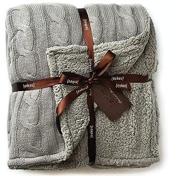 Amazon.com: Cable Knit Sherpa - Manta reversible de gran ...