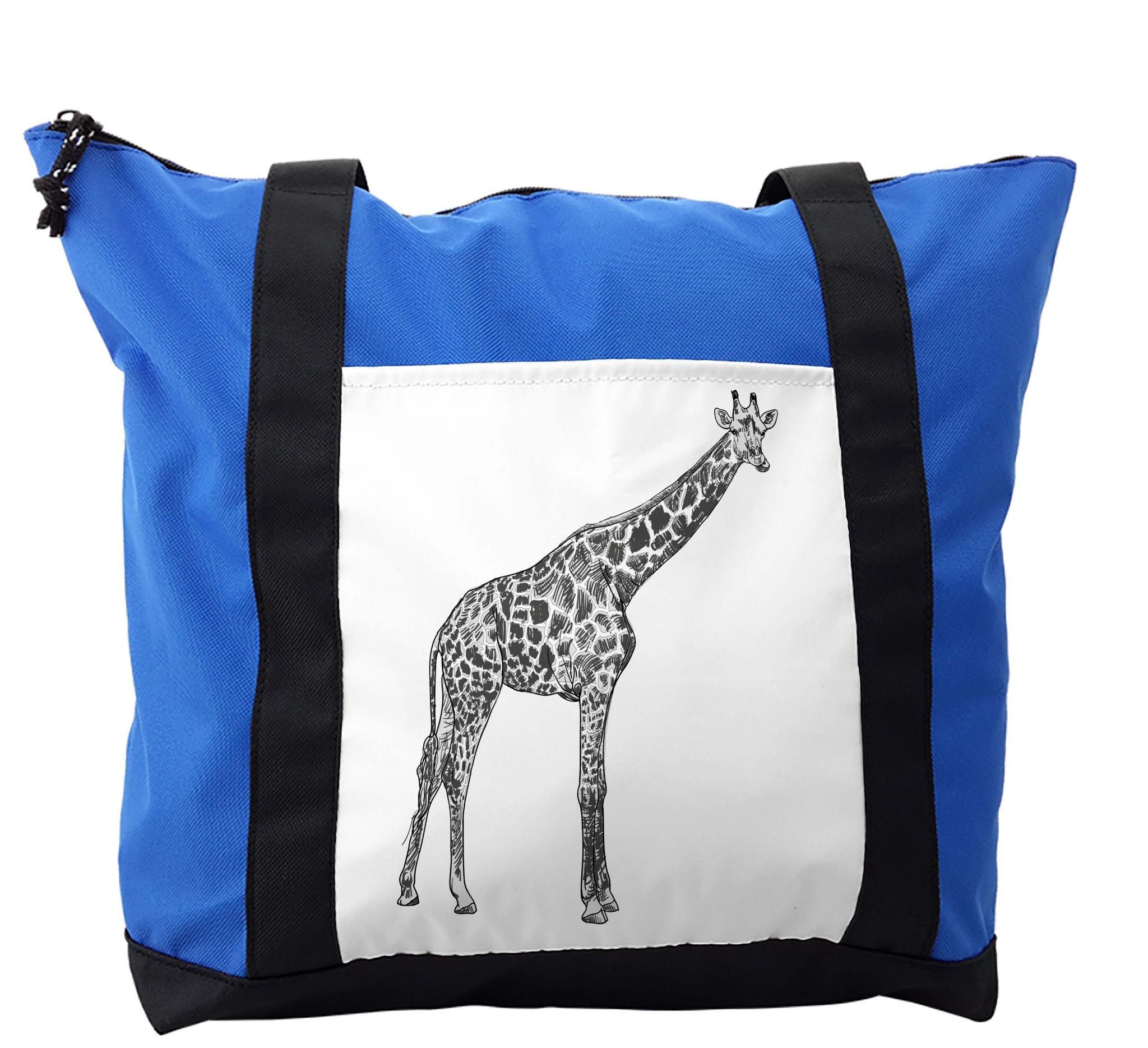 Lunarable Giraffe Shoulder Bag, Animal Spotted Skin Sketch, Durable with Zipper