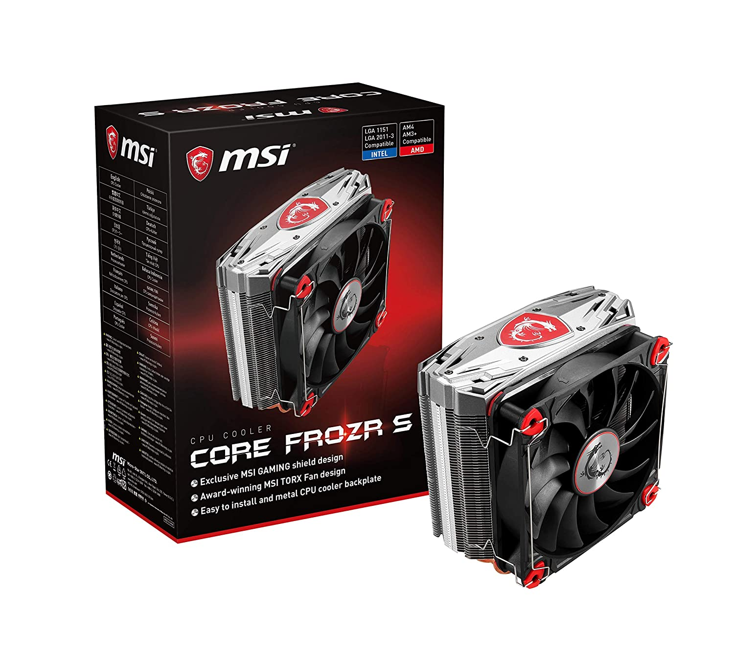 MSI CORE FROZR S CPU Air Cooler 4 Direct Contact Heat Pipes, 1 x 120 mm PWM TORX Fan, Iconic MSI Gaming Shield Design Silver Cover, Compatible with Intel and AMD Platforms - E32-0802210-A87