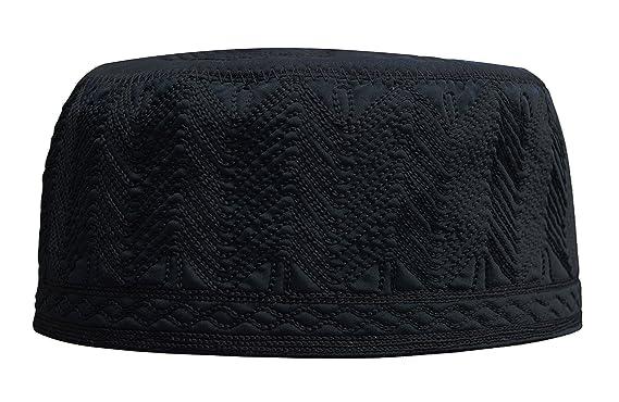 3745439ee02e5 Beautiful Black Embroidered Cotton Kufi Muslim Kufi Takke Peci Kofia Hat –  Large – 4X Available