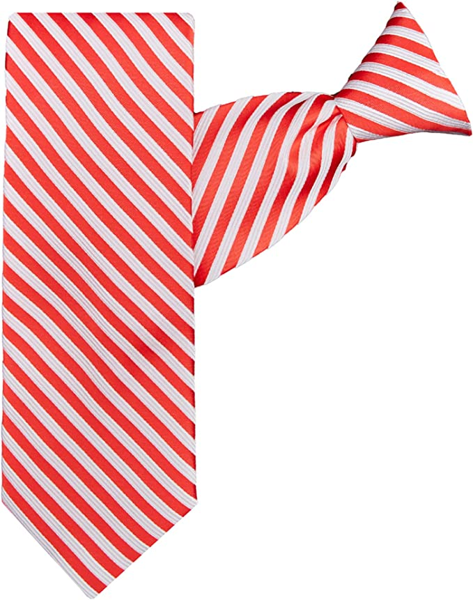 Jacob Alexander Candy Cane Stripe Boys 11 Clip-On Neck Tie