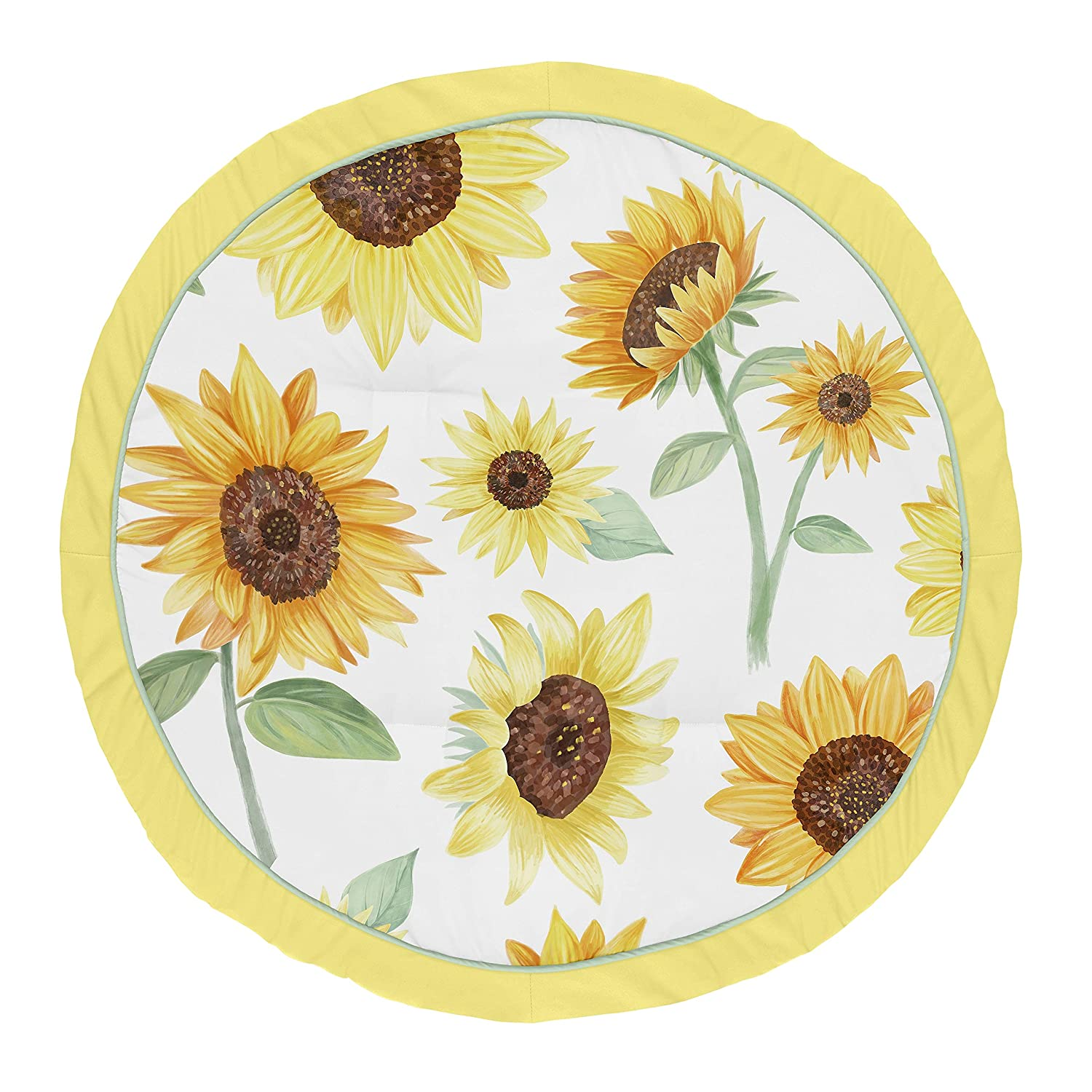 Sweet Jojo Designs Sunflower Girl Baby Playmat Tummy Time Infant Play Mat - Yellow Green and White Farmhouse Watercolor Flower