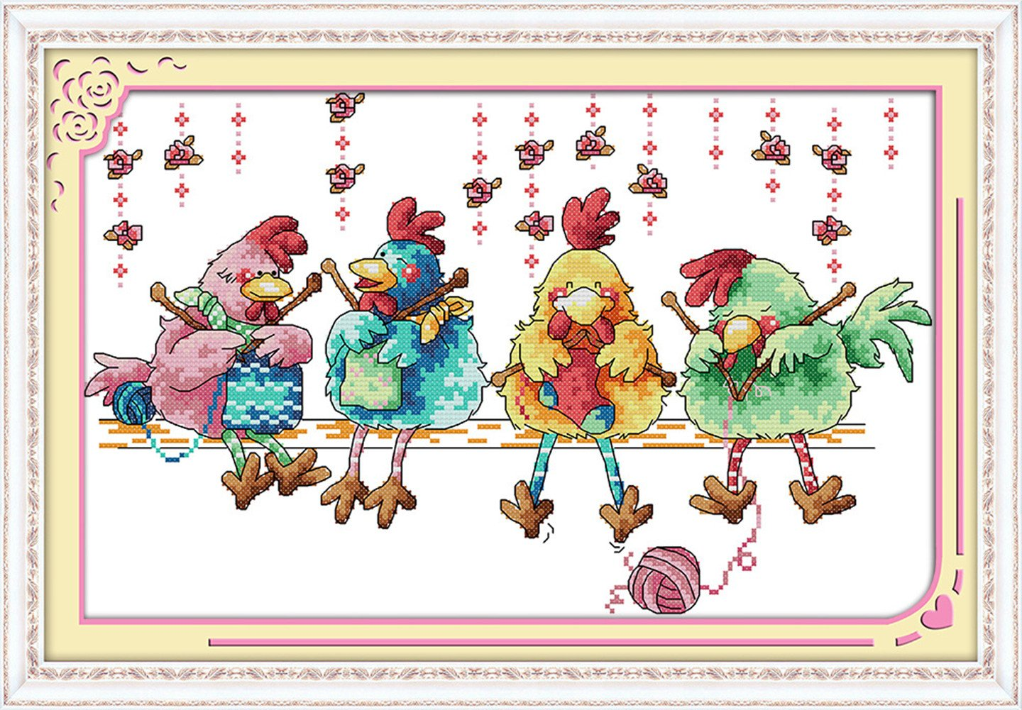 """eGoodn Cross Stitch Stamped Kit Pre-Printed Pattern Knitting Chickens, 11CT Aida Fabric Size 20.5"""" x 13.8 for Embroidery Needlework Art Crafts Lovers, No Frame ED86"""