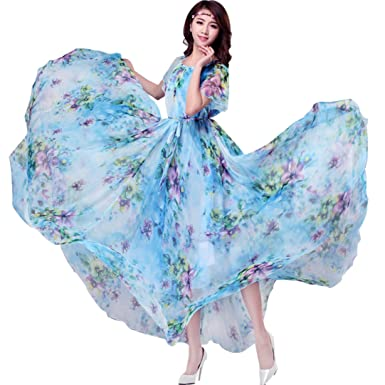 5fc91290e14 Medeshe Women s Floral Printed Chiffon Boho Lightweight Summer Maxi Dress  Sundress (Length  115cm