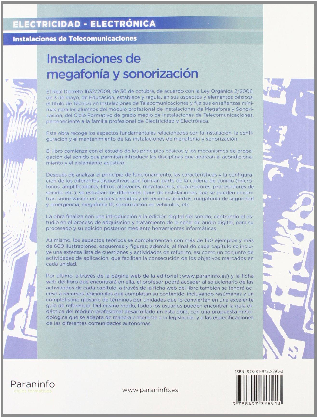 INSTALACIONES DE MEGAFONIA Y SONORIZACION GRADO MEDIO: 9788497328913: Amazon.com: Books