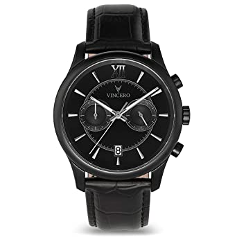 b3ac18607a2d Vincero Luxury Men s Bellwether Wrist Watch — Matte Black with Black  Leather Watch Band — 43mm