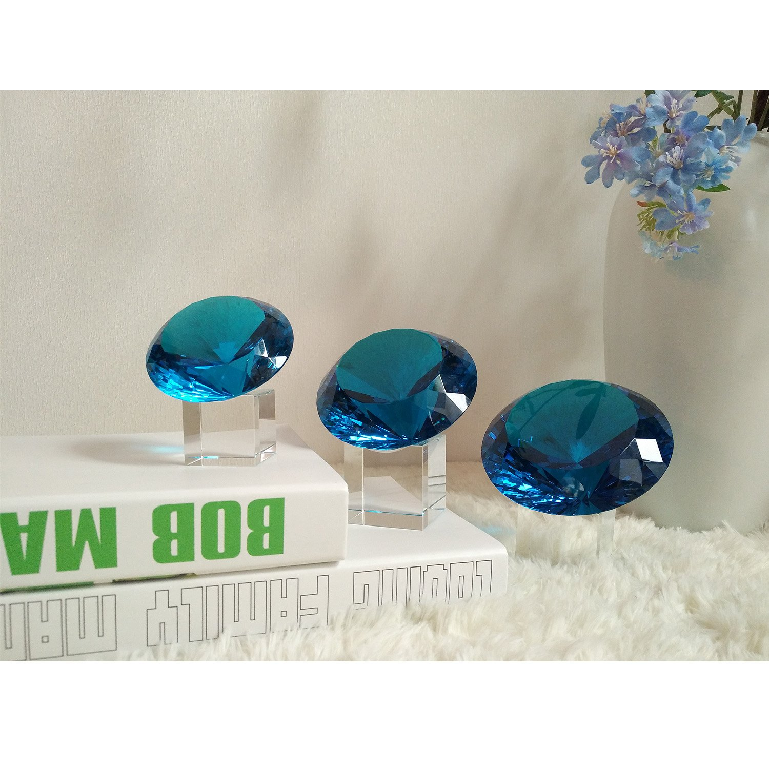 BRLIGHTING Cobalt Blue crystal Diamond Paperweight on stand for Office, Lovely Gift for Friends and Family (D120mm / 4.73'') by BRLIGHTING (Image #7)