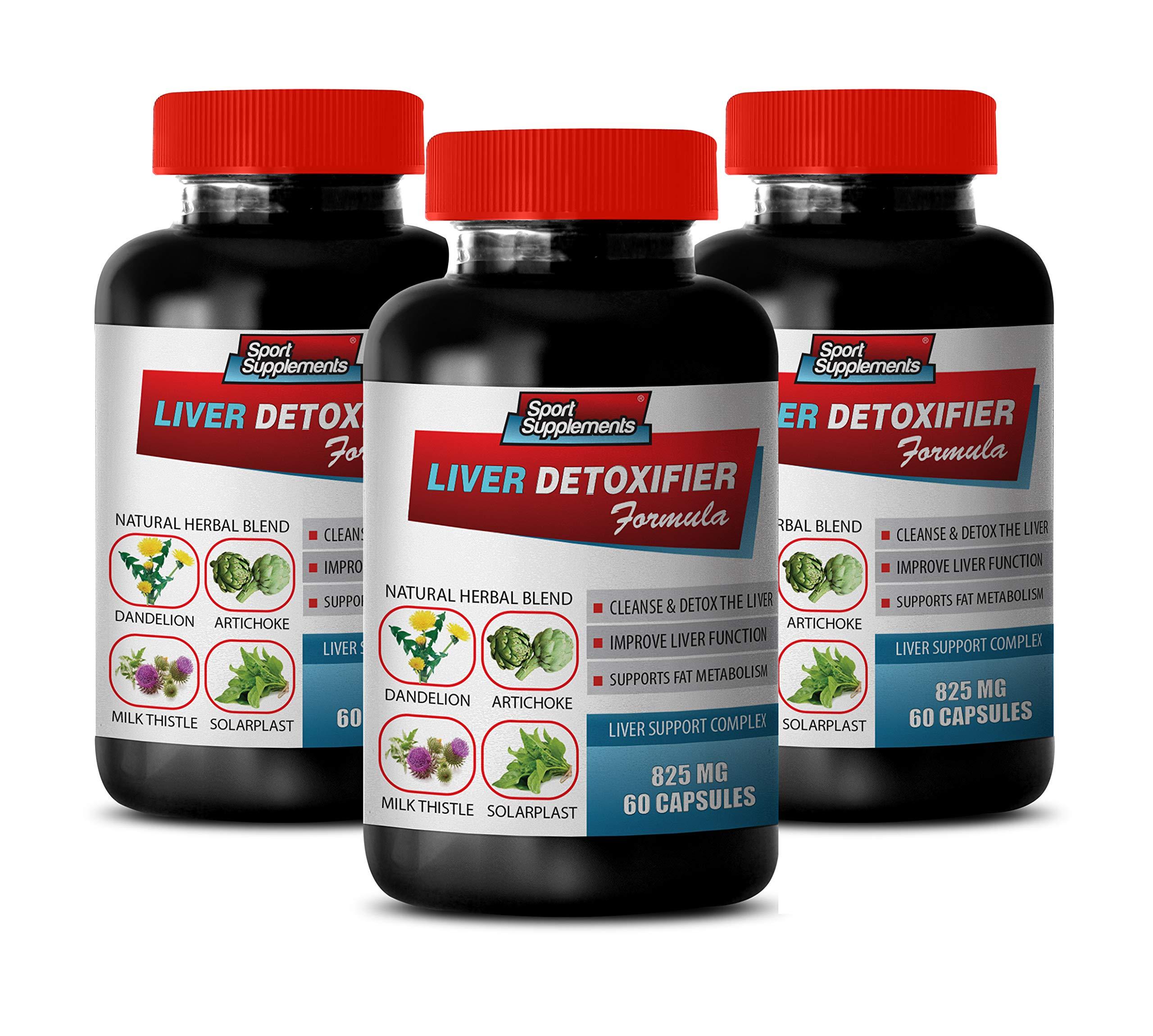 Liver Cleanse and Support - Liver DETOXIFIER Formula - Natural Herbal Blend - protease Supplement - 3 Bottles 180 Capsules